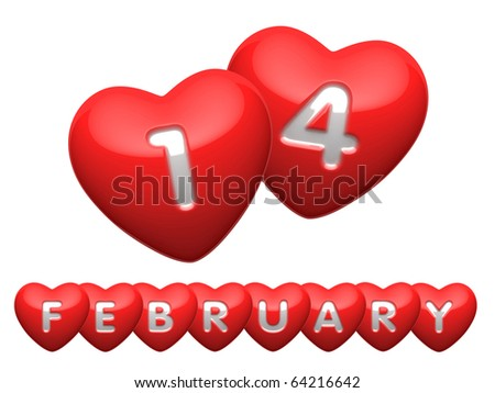 "Words ""14 february"" from hearts letters - stock photo"