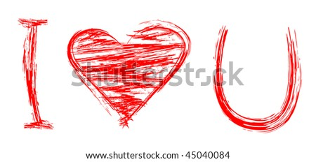 "Words ""I love U"" written in grunge style. In may be a greeting card for Valentine's day or wedding."