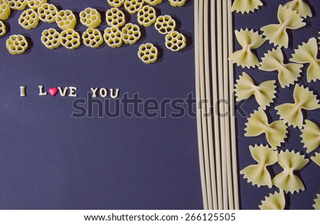 Words I Love You  Written With Pasta Letters - stock photo