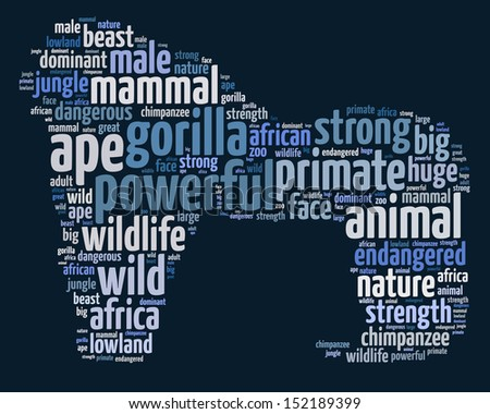 Words illustration of a gorilla over deep blue background