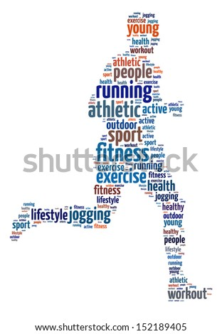 Words illustration of a man jogging over white background - stock photo