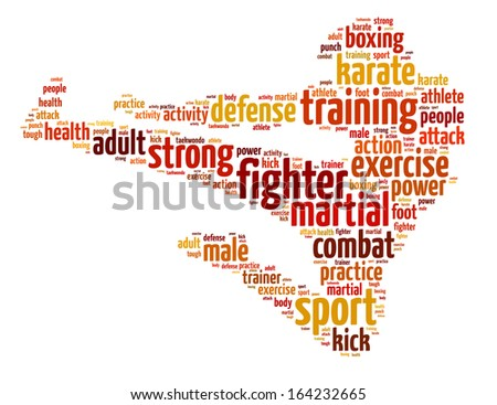 Words illustration of a martial arts fighter over white background