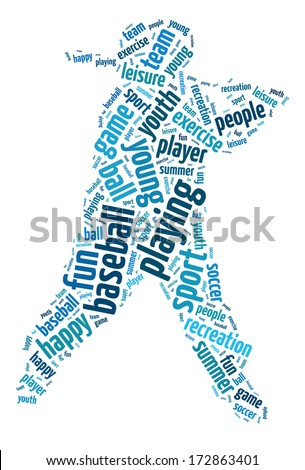 Words illustration of happy youth playing sports over white background - stock photo