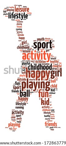 Words illustration of happy youth playing sports over white background