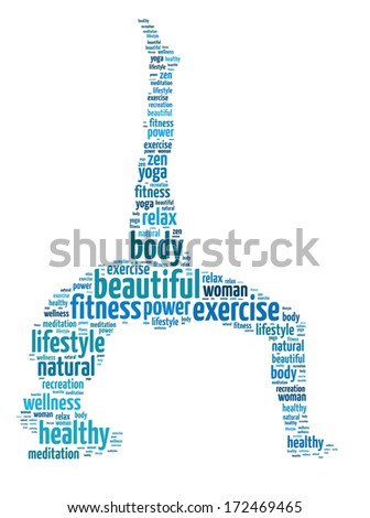 Words illustration of the concept of yoga and meditation over white background