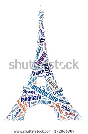 Words illustration of the famous Eiffel Tower over white background - stock photo