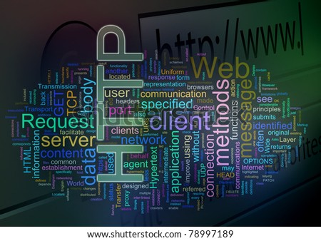 Words in a wordcloud of HTTP. Concept of internet, web browsing, global networking