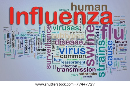 Words in a wordcloud of Influenza. - stock photo