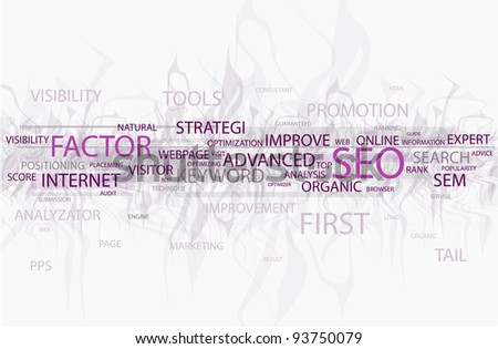 Words in a wordcloud related to SEO - search optimization concept - stock photo