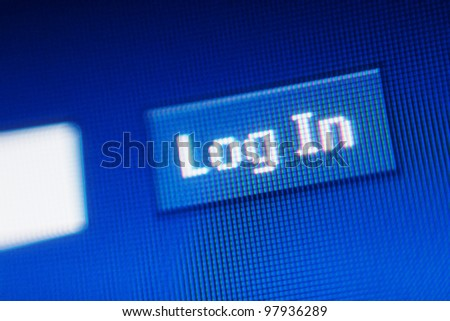 Words Log in on a LCD screen - stock photo