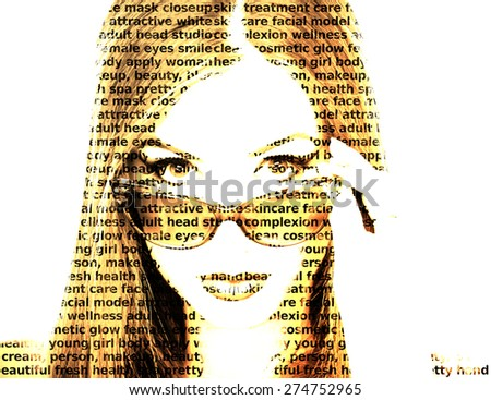 Words make portrait of a woman with sunglasses - stock photo