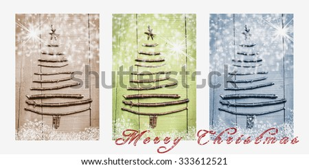 Words Merry Christmas written on snowy triptych in brown, green and blue. Christmas trees made of wooden branches. - stock photo