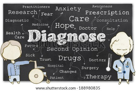 Words of Diagnose on Blackboard with Clipping Path - stock photo