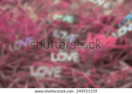 Words of love in garden blur background  - stock photo