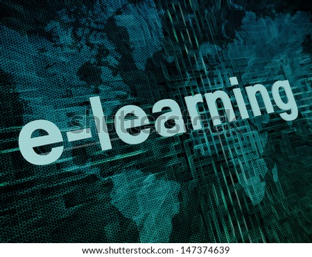 Words on digital world map concept: e-learning - stock photo