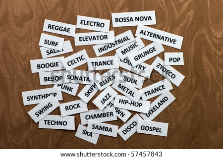 Words on paper scraps about music styles and genres - stock photo