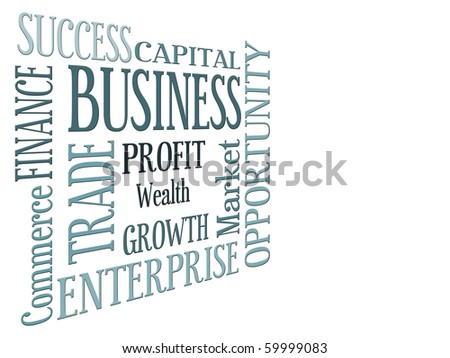 Words relating to business over white background - stock photo