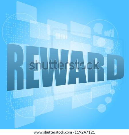 words reward on digital screen, life style concept, raster - stock photo