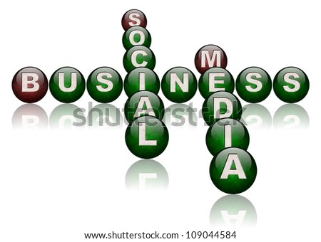 words social media and business arranged as a crossword puzzle / social media business