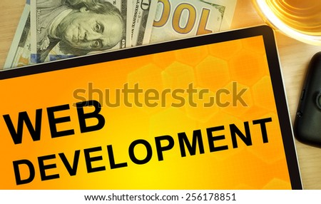 Words web development on tablet. internet and networking concept. - stock photo