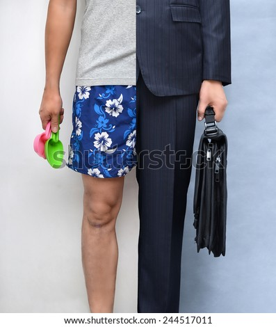 Work and holiday wear (relaxation and stress concept) - stock photo
