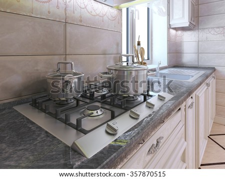 Work area at modern kitchen. Light grey gas stove with pan made of stainless steel. Granite countertop and cream tile backsplash. 3D render - stock photo