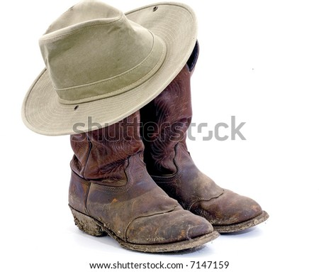 Work Boots and Hat - stock photo
