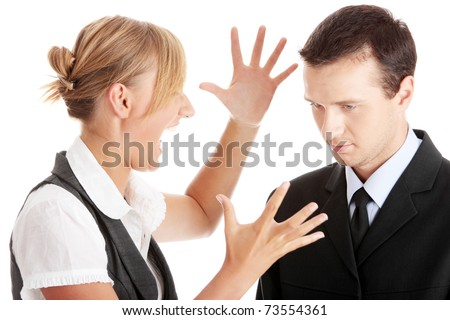 Work Colleagues arguing on white background - stock photo