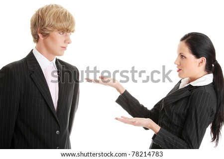 Work Colleagues arguing (woman shouting on man), isolated on white background - stock photo