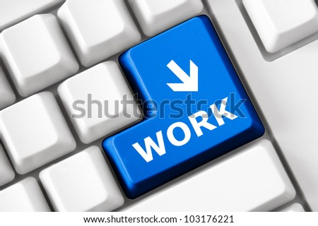 Work concept on the modern keyboard - stock photo