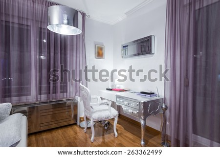 Work desk in home room - stock photo