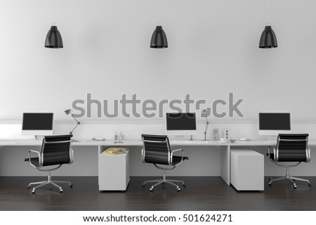 Work desks in empty room with big wall in background. 3D illustration