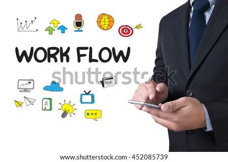 WORK FLOW   (Work Flow Efficiency Implement Process) businessman working use smartphone - stock photo