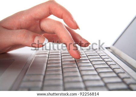 Work for the laptop. Hands and keyboard close-up - stock photo