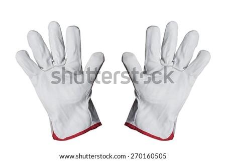 Work gloves isolated on white background - stock photo