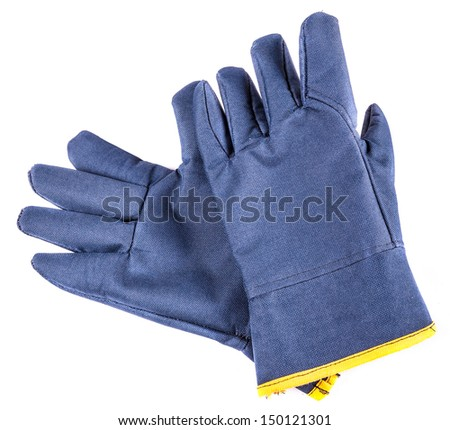 Work gloves with clipping path. Shot with an exposure that brings out the textile texture good detail. - stock photo