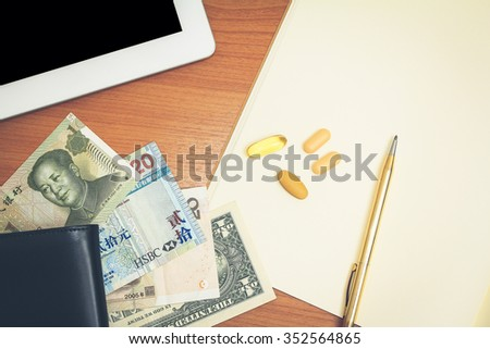 work hard concept - work desk with supplements  - stock photo