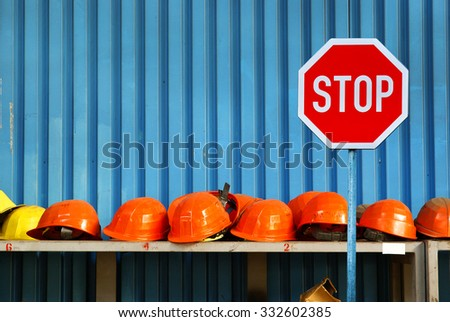 Work helmets, strike,unemployment concept
