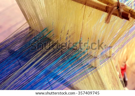 work homemade loom old tool textile - stock photo