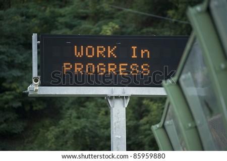 Work in progress led signage - stock photo