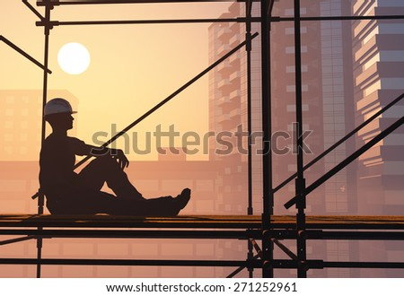 Work is resting against the backdrop of the city. - stock photo
