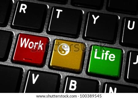 Work life balance concept on laptop keyboard. - stock photo