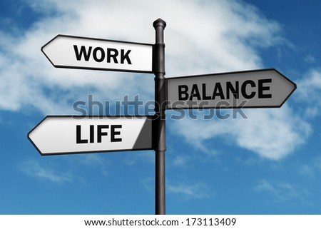 Work-life balance road sign concept for healthy lifestyle and wellbeing choice - stock photo