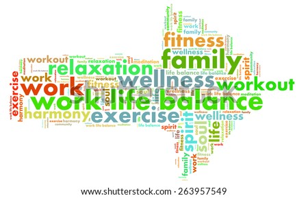 work life balance shaped as a arrow to the right - stock photo