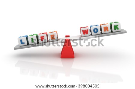 Work Life Words Balancing on a Seesaw - Balance Concept - High Quality 3D Render    - stock photo
