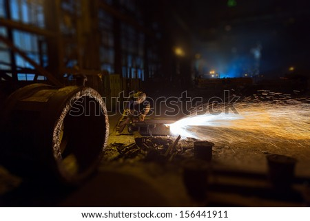 Work machined parts in foundries - stock photo