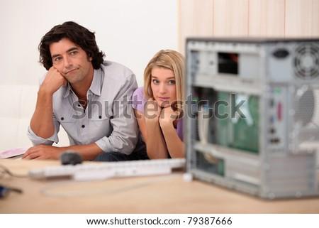 work mates, bored - stock photo