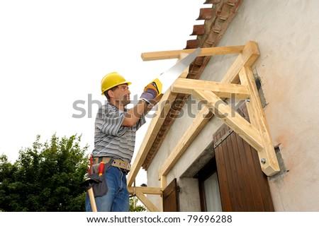 work of a craftsman carpenter - stock photo