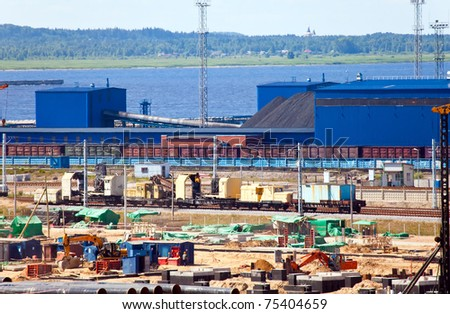 Work of new sea trading port of the Ust-Luga. Russia. The coal terminal - stock photo