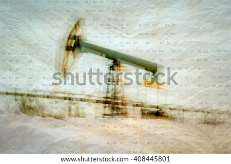 Work of oil pump jack on a oil field. Texture grunge paper. Blurred motion. Numbers, figures. Concept oil and gas crisis. - stock photo